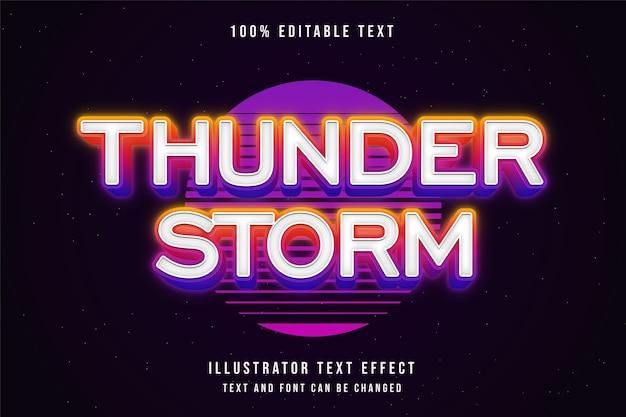 Tempestade de trovões, efeito de texto editável em 3d estilo de texto rosa neon gradação amarela
