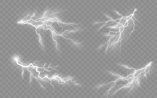 Tempestade e raios, o efeito de raios e iluminação, luz e brilho, conjunto de zíperes, símbolo de força natural ou mágica, resumo, eletricidade e explosão, ilustração vetorial, eps 10