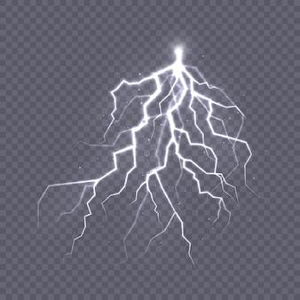 Tempestade e relâmpago o efeito da luz e do brilho descarregue a corrente elétrica