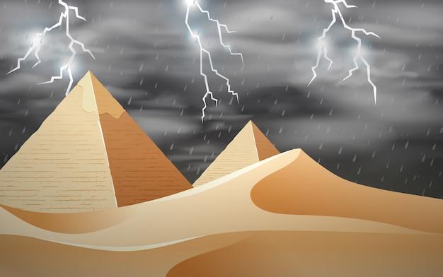 Tempestade na cena do deserto