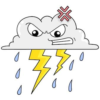 Tempestades nubladas da estação chuvosa enfrentada com raiva, arte de ilustração vetorial. imagem de ícone do doodle kawaii.