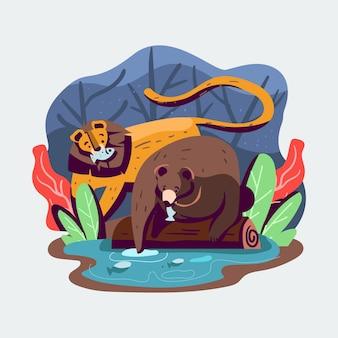 Template bear ilustração vetorial