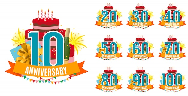 Template de 10 a 100 anos de aniversário parabéns