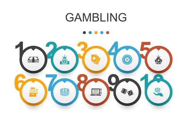 Template de design de infográfico de jogos de azar. roleta, cassino, dinheiro, ícones simples de cassino online