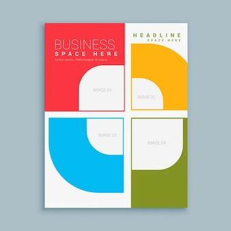 Template empresa folheto com formas coloridas