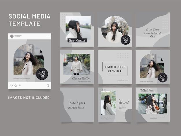Template fashion social media puzzle women post