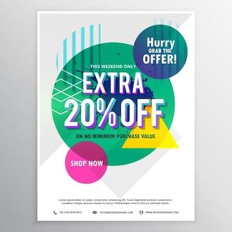 Template flyer promocional moderna com desconto e oferta com formas abstratas