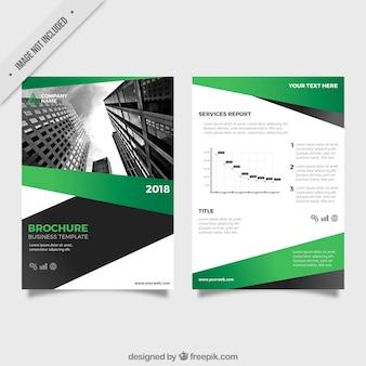 Template folheto do negócio com formas verde e cinza