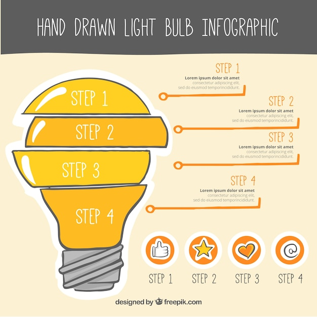 Template infográfico ampola com linhas e ícones