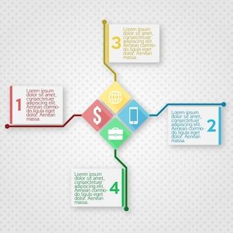 Template infográfico com quadrados