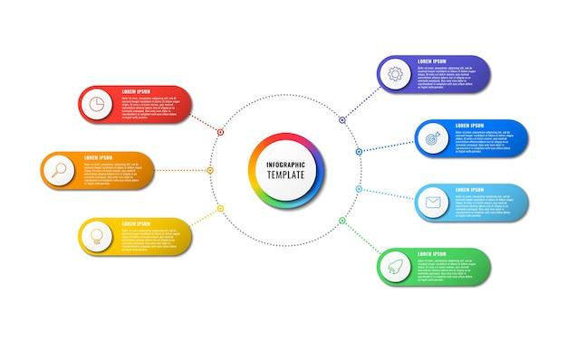Template infográfico com sete elementos redondos
