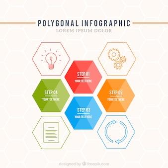 Template infográfico poligonal