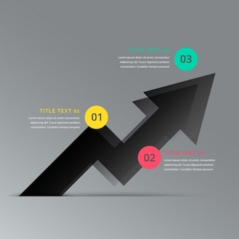 Template infográfico preto seta de negócio que mostra três etapas