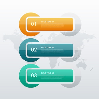 Template infográfico três opções passos para a sua apresentação de negócios ou de entrada de fluxo de trabalho