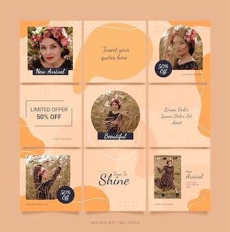 Template instagram fashion women feed. quebra-cabeça de mídia social