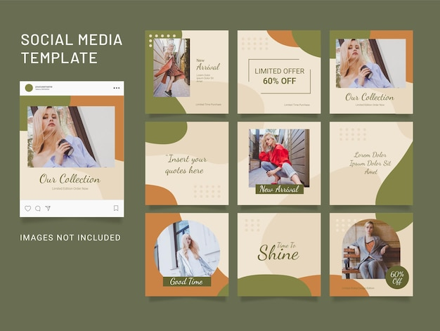 Template instagram fashion women post puzzle