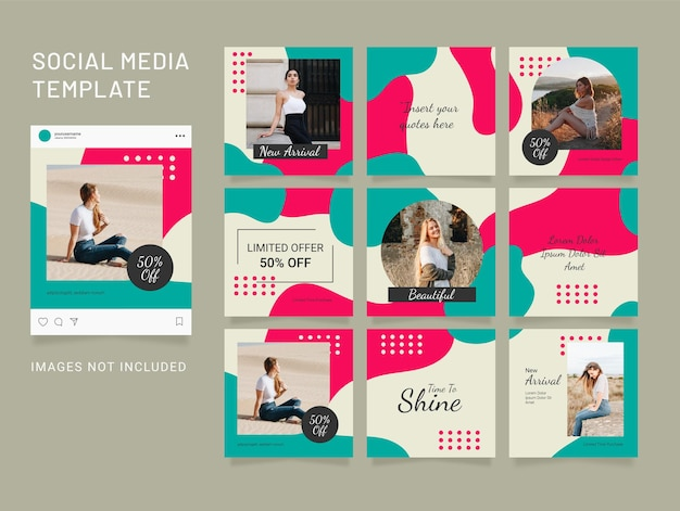 Template instagram feed puzzle fashion