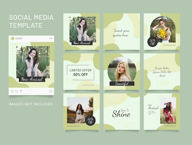 Template instagram puzzle fashion feed