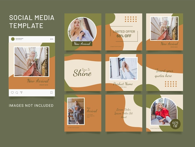 Template instagram puzzle feed social media