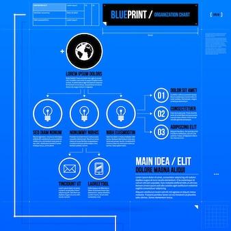 Template lâmpada azul infográfico luz
