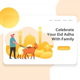 Template landing page ilustração web de eid adha