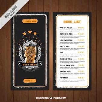 Template menu de cerveja desenhado mão no estilo retro