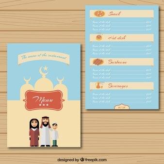 Template menu de comida árabe com uma família