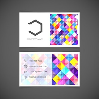 Template mosaic business card vector