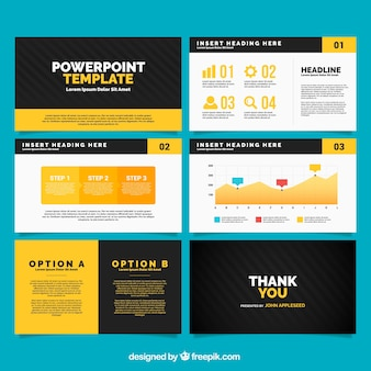 Template power point com elementos infográfico