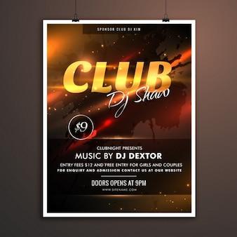 Template promocional club parte, com detalhes do evento