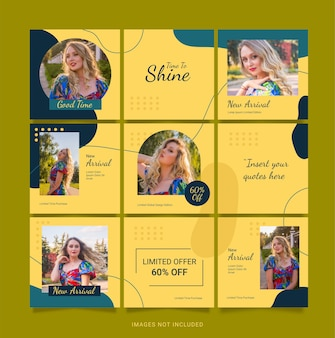 Template puzzle instagram fashion post