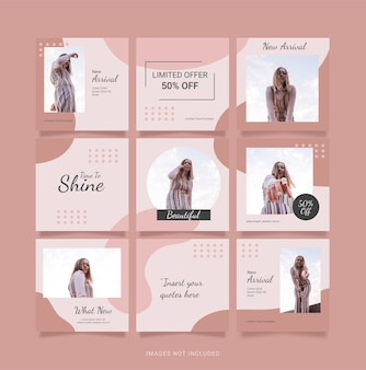 Template social media fashion women feed puzzle