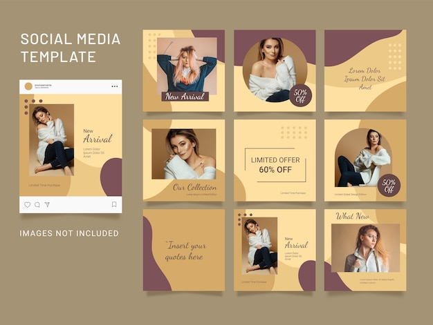 Template social media puzzle fashion women feed
