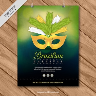 Template turva cartaz com máscara do carnaval