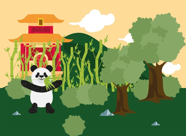 Templo chinês e panda