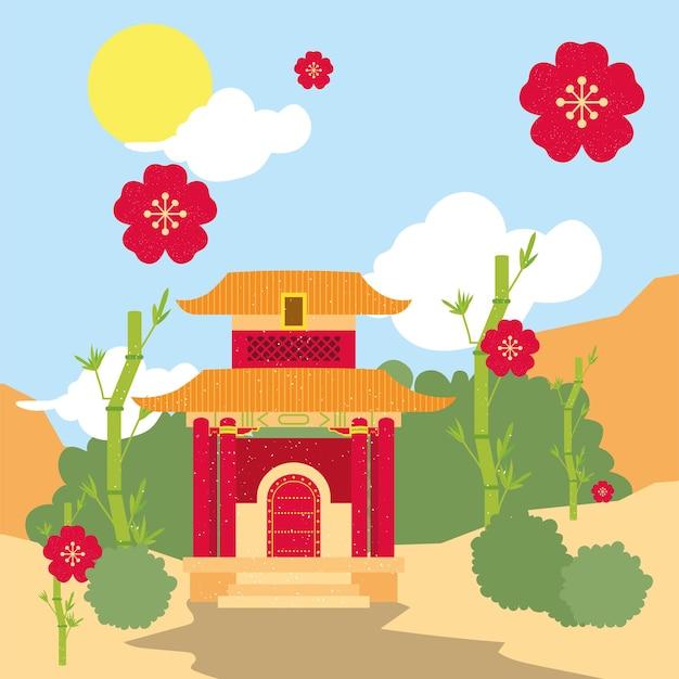 Templo chinês em paisagem