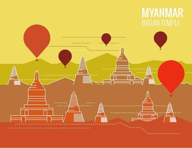 Templo de bagan com balão de ar quente. cena de destino de myanmar. design plano de linha fina. ilustração vetorial