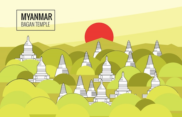 Templo de bagan no nascer do sol. cena de destino de myanmar. design plano de linha fina. ilustração vetorial