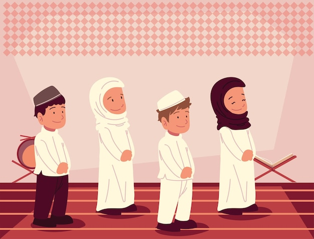 Templo de crianças muçulmanas estudando alcorão