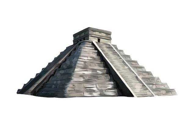 Templo de kukulkan, pirâmide em chichen itza, yucatan, méxico de um toque de aquarela