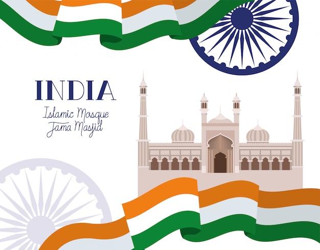 Templo de masjid jama indiano com bandeira