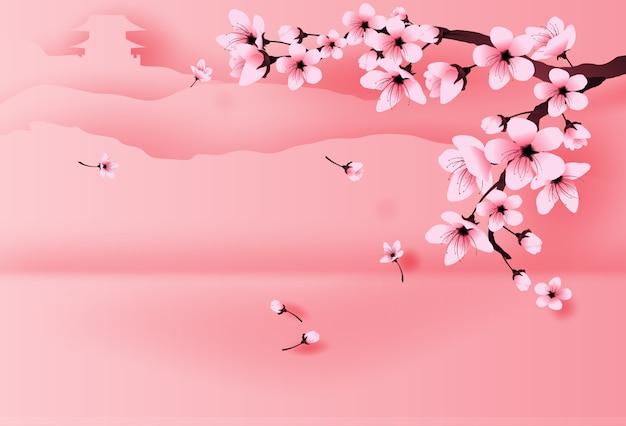 Templo de temporada de primavera na montanha por flor de cerejeira