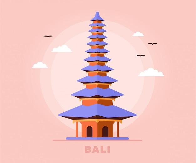 Templo de turismo de bali holiday travel of indonesia illustration