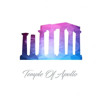 Templo do logotipo do polígono apollo
