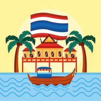 Templo e barco da tailândia
