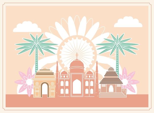 Templo e edifício famoso da índia Vetor Premium