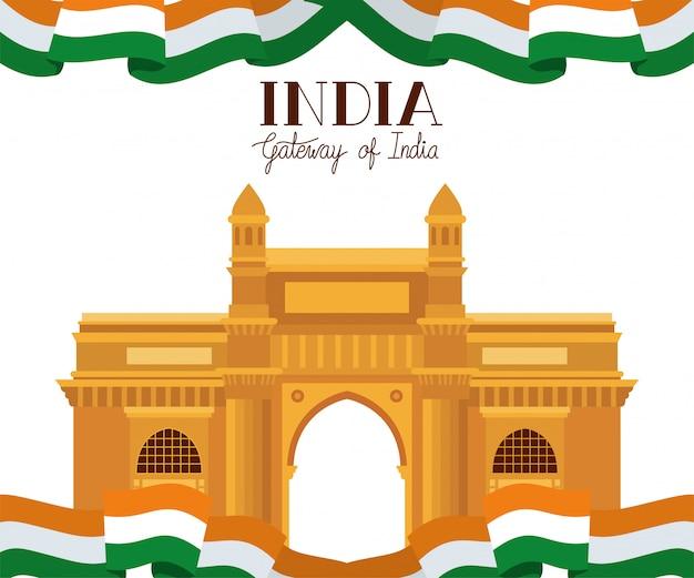 Templo indiano da porta com bandeira