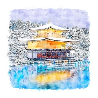 Templo kinkakuji japão esboço em aquarela ilustração desenhada à mão