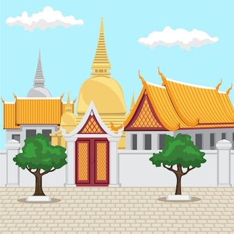 Templo na arquitetura tailandesa antiga de bangkok tailândia consiste em um templo dourado.