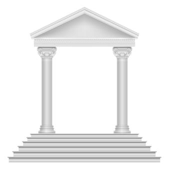 Templo romano antigo com etapas e colunas.